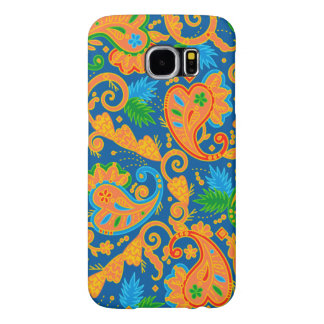 Stylish orange Paisley Pattern Samsung Galaxy S6 Cases
