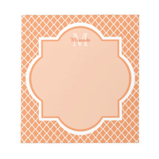 Stylish Orange Quatrefoil Monogram With Name Notepad