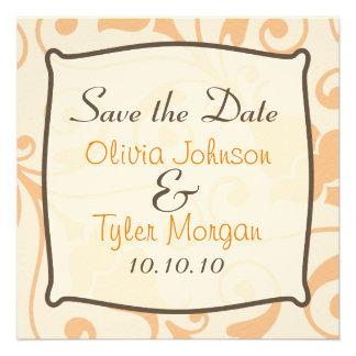 Stylish Orange Sherbert Save the Date Invitation