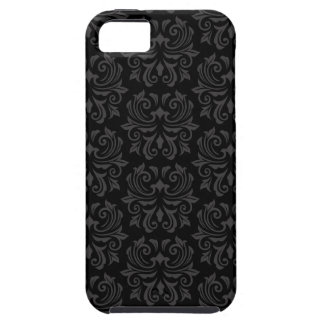 Stylish ornate damask pattern black and gray case for the iPhone 5