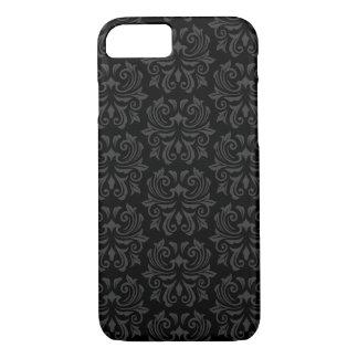 Stylish, ornate damask pattern black and gray iPhone 8/7 case