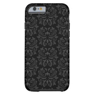Stylish ornate damask pattern black and grey tough iPhone 6 case