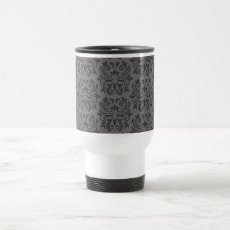 Stylish ornate dark gray damask pattern mug