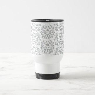 Stylish ornate light gray and white damask pattern coffee mug