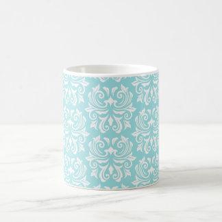 Stylish ornate pale aqua blue white damask pattern basic white mug