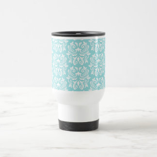 Stylish ornate pale aqua blue white damask pattern mug