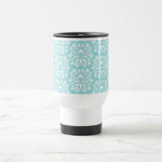 Stylish ornate pale aqua blue white damask pattern stainless steel travel mug
