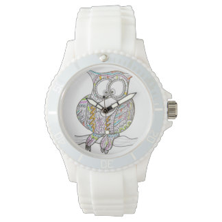 Stylish Owl - Abstract Art Ink Drawing Wrist Watch