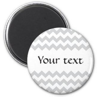 Stylish pale gray zig zags zigzag chevron pattern 6 cm round magnet