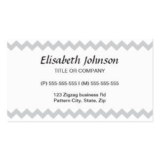 Stylish pale gray zig zags zigzag chevron pattern business card