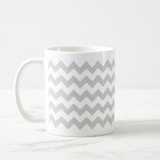 Stylish pale gray zig zags zigzag chevron pattern coffee mugs