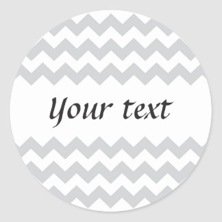 Stylish pale gray zig zags zigzag chevron pattern round sticker
