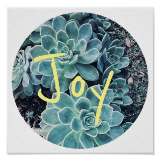 Stylish Pale Green Cactus Succulent Joy Poster