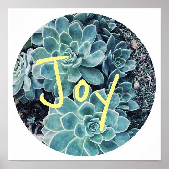 Stylish Pale Green Cactus Succulent Joy Poster
