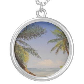 Stylish Palm Tree Round Pendant Necklace