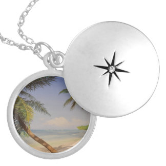 Stylish Palm Tree Silver Plated Necklace