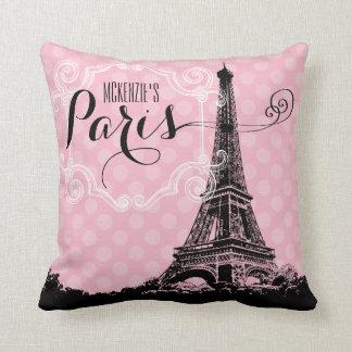 Stylish Paris Eiffel Tower Add Name and Monogram Cushion