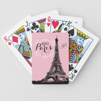 Stylish Paris Eiffel Tower Add Name Bicycle Playing Cards
