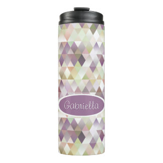 Stylish Pastel Triangles Diamond Squares Pattern Thermal Tumbler