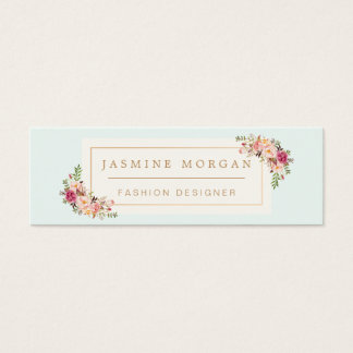 Stylish Pastel Watercolor Flowers Girly Chic Mini Business Card
