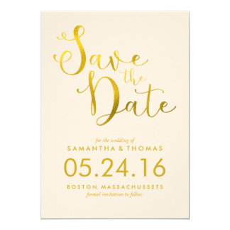 Stylish Peach Script Wedding Save the Date Card