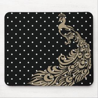 Stylish-Peacock-Beige-Black-Unisex Mouse Pad