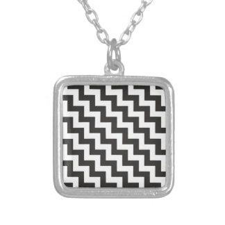 Stylish Pendant Necklace, Black and White Zigzags