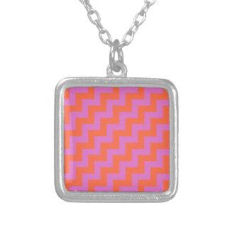 Stylish Pendant Necklace, Pink and Orange Zigzags