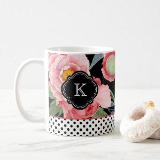 Stylish Peonies and Polka Dots with Monogram Coffee Mug