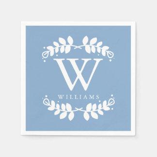 Stylish Periwinkle Blue Monogram Disposable Serviettes