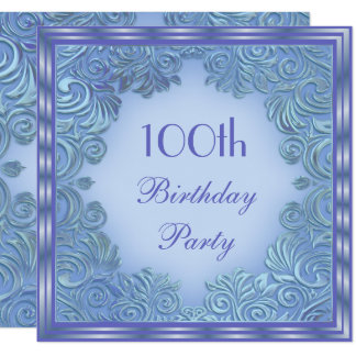Stylish Periwinkle Foil Leaf Swirls 100th Birthday Card