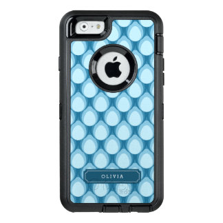 Stylish Personalize Blue Teardrop Pattern Monogram OtterBox Defender iPhone Case