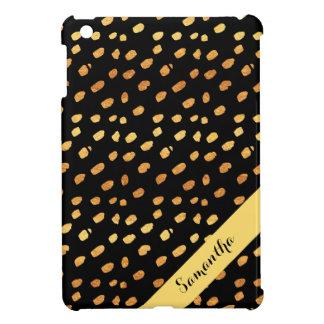 Stylish Personalized Black and Gold Confetti iPad Mini Case