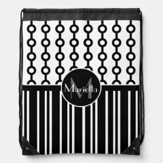 Stylish Personalized Black and White patterned Drawstring Bag