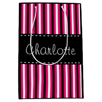 Stylish Personalized Black White Pink Stripes Medium Gift Bag