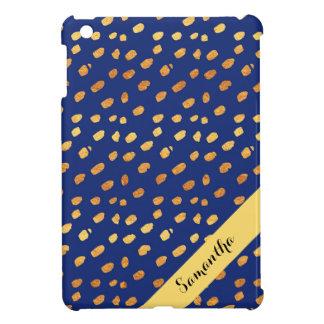 Stylish Personalized Blue and Gold Confetti iPad Mini Cover