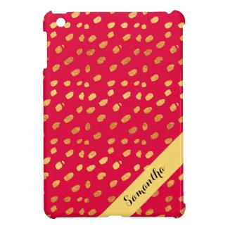 Stylish Personalized Red and Gold Confetti iPad Mini Case