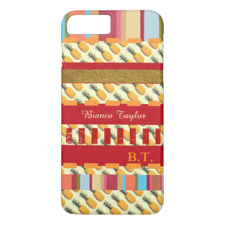 stylish & personalized stripes with pineapples iPhone 7 plus case