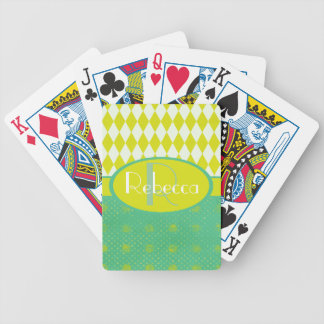 Stylish Personalized Yellow and green pattern Bicycle Playing Cards