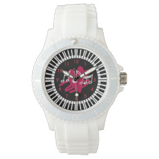Stylish piano keys heart and musical notes watches