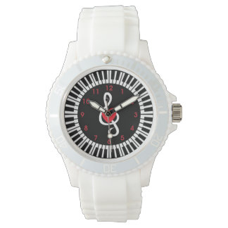 Stylish piano keys heart and musical notes wrist watch