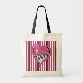 Stylish Piano Music Notes in Pink, Black and White Tote Bag