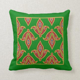 Stylish Pillow, Fleur-de-Lys, Maroon, Blue, Green Cushion