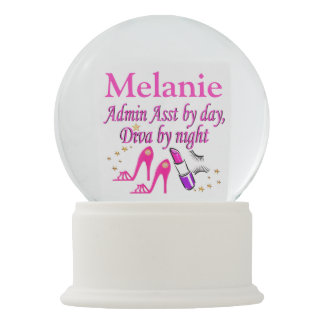 STYLISH PINK ADMIN ASST PERSONALIZED SNOW GLOBE SNOW GLOBES