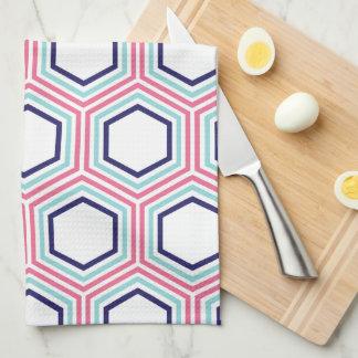 Stylish Pink and Blue Geometric Pattern Hand Towel