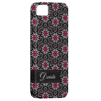 Stylish Pink+Black Stars pattern iPhone 5 Case
