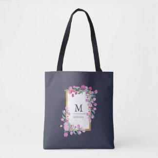 Stylish Pink Bougainvillea Flowers on Dark Blue Tote Bag