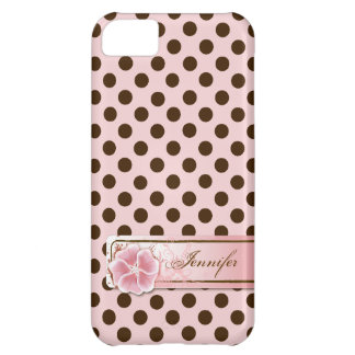 Stylish Pink & Brown Polka Dot iPhone 5 Case