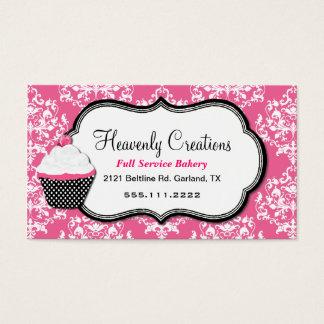 Stylish Pink Damask Bakery Business Card