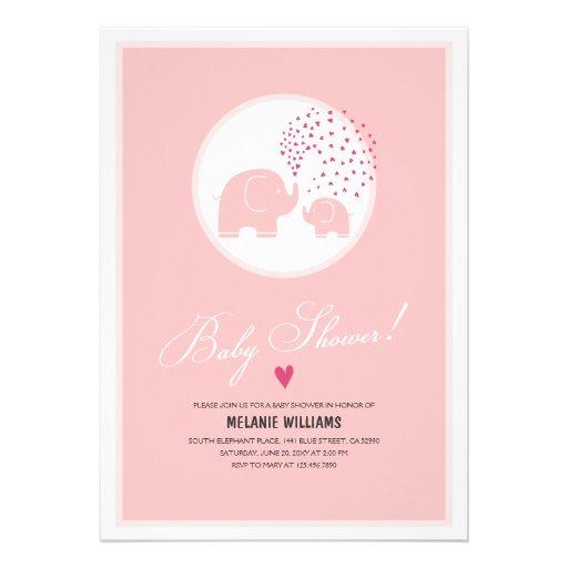 Stylish Pink Elephants Baby Girl Shower Invitation